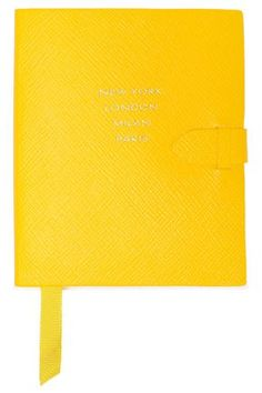 Shop Smythson Printed Textured-leather Notebook In Yellow from stores. Uk Photos, Smythson, Leather Notebook, Grosgrain Ribbon, World Of Fashion, Luxury Branding, Texture, Yellow, Printed