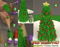 Easy Sugar Cone Christmas Tree Tutorial ►CLICK PICTURE to watch recipe Christmas Tree Food, Christmas Treats, Christmas Ornaments, Baking Recipes, Holiday Recipes, Great Recipes, Holiday Baking, Christmas Baking
