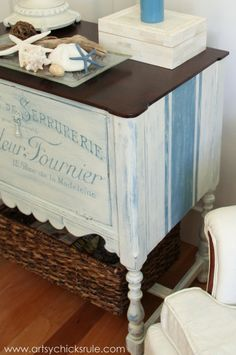 French Fabulous Cabinet Makeover - Side #chalkpaint -artsychicksrule.com