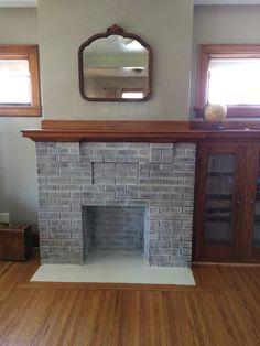 White washed brick fireplace #whitewashed #brickfireplace