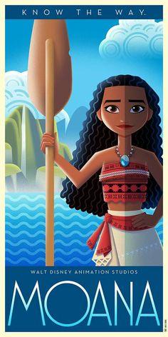 Disney Art Deco Poster: Moana - David G. Moana Disney, Disney Pixar, Film Disney, Disney Kunst, Disney Fan Art, Disney Villains, Disney And Dreamworks, Disney Movies, Posters Disney Vintage
