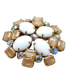 Vintage Camel, Milk Glass & Aurora Borealis Rhinestone Brooch,. Available at The Hour & TheHourShop.com.  Womens / Ladies Mid Century Fashion Jewelry/ Accessories.