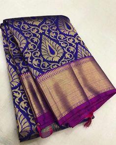 Pure Kanchipuram silk sarees at weavers price pl contact us at for more collections and details Kanjivaram Sarees Silk, Blue Silk Saree, Indian Silk Sarees, Kanchipuram Saree, Soft Silk Sarees, Pattu Sarees Wedding, Wedding Silk Saree, Bridal Sarees, Pattu Saree Blouse Designs