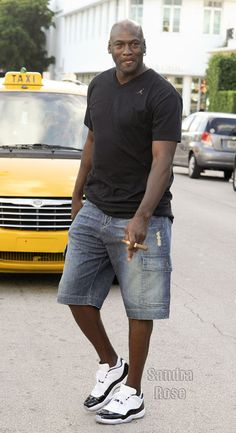 "Michael Jordan wearing Air Jordan 11 Low ""Concord"""