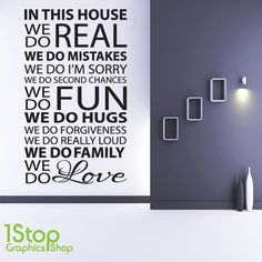 HOUSE RULES WALL STICKER QUOTE - HOME KITCHEN LOUNGE WALL ART DECAL X69