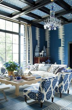 elle decor + ikat curtains + blue + crystal thayermanor.wordpress.com