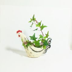 Planter Rooster Chicken Planter Black White Red by TheVintagePorch, $16.00