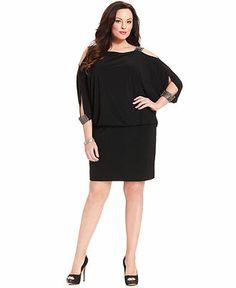 Betsy & Adam Plus Size Split-Sleeve Blouson Dress - Plus Size Dresses - Plus Sizes - Macy's