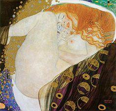 Red Hair Woman Paintings - Danae by Gustav Klimt