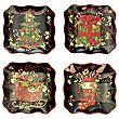 Vintage Christmas Set of 4 Canapé Plates
