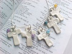 Fab Wedding Favor Idea!  10 Tiny Handcrafted White Porcelain crosses attach a verse and directions to put somewhere special