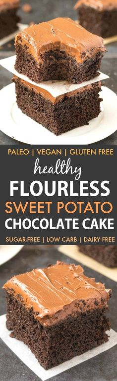 Healthy Flourless Sweet Potato Chocolate Cake (Paleo, Vegan, Gluten Free)- Moist, fudgy and dense, this easy one bowl cake recipe is perfect to enjoy dessert guilt-free with a hidden veggie! Sugar-free and dairy-free. | #healthy #healthycake #sugarfreerec http://eatdojo.com/easy-healthy-dessert-recipes-family-birthday/