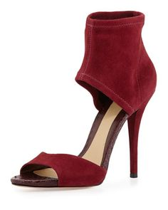 Correns Suede Ankle-Band Sandal, Crimson by B Brian Atwood at Neiman Marcus.