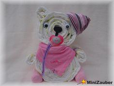 Windelbärchen (Windelbär, Diaper Bear, Diaper Cake, Baby Shower, Babyshower, Windeltorte, Windelfigur, Windeltier, Geburtsgeschenk)