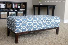 Breathe new life into an old ottoman with new fabric! This two hour project is great for beginners. This is the story about a beautiful ottoman who began its life like this... We've had this ottoma...