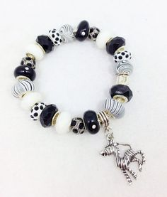 Zebra White Black European Style Charm Bracelet by Graceandliz, $20.00