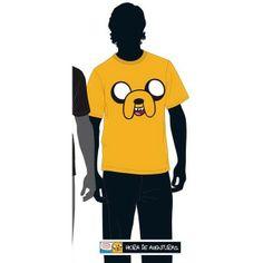Camiseta con motivos de Hora de Aventuras. Amarilla, con Jake como protagonista.(Puedes encontrarla en Tallas variadas en la tienda. Esta es Talla L) Fabricación: 100% algodón