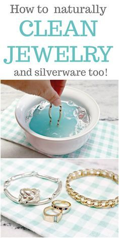 How to Clean Jewelry Naturally and Silverware Too - an easy and fast method for cleaning silver and gold jewelry using natural ingredients like baking soda, dish liquid and aluminum foil. via cleaner, How to Clean Jewelry Naturally and Silverware Too Deep Cleaning Tips, House Cleaning Tips, Natural Cleaning Products, Spring Cleaning, Cleaning Hacks, Diy Hacks, Cleaning Recipes, Cleaning Solutions, Cleaning Baking Pans
