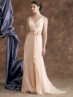 Sleeveless Silk Chiffon A-line Mother Dress with Mock Wrap Ruched Bodice