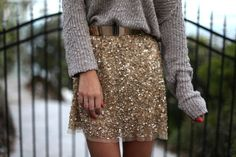 Sparkle skirt & casual sweater, so cute!