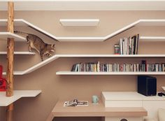 Felines First: Living Room Interior Design . I always thought that ALL shelves are cat-friendly if there's a cat in the house, but these are pretty neat. Pet Furniture, Furniture Design, Nice Furniture, Cat Climbing Shelves, Climbing Wall, Etagere Design, Custom Shelving, Modern Shelving, Shelving Ideas