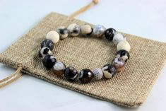 Men's Brown & Beige Agate Stones with Swarovksi Crystals