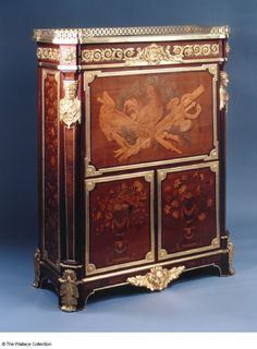 Secretaire Marie-Antoinette's Secretaire Jean-Henri Riesener (1734 - 1806) France 1780. Materials & Techniques: Oak carcase; sycamore, holly, fruitwood, purple heart and other wood veneer; marble top; gilt bronze mounts.