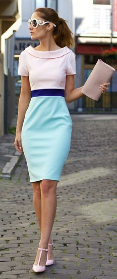 Pastel Colours Retro Little Dress by From Brussels With Love