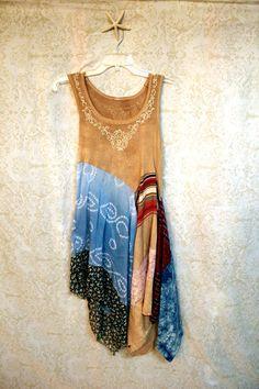 REVIVAL Women's Upcycled Boho Shirt, Romantic Bohemian Junk Gypsy Artwear Style…