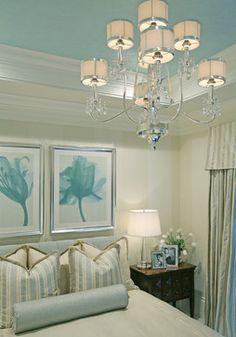 Traditions II @ Grey Oaks contemporary bedroom.  Blue ceiling. Beautiful chandelier. #blue #cream