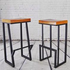 American Vintage Iron wood tall bar chairs creative fashion casual cafe bar stool bar stools - Home Decor Iron Furniture, Industrial Furniture, Furniture Design, Wood Bar Stools, Wrought Iron Bar Stools, Tall Bar Stools, Wood Table, Chaise Bar, Vintage Iron