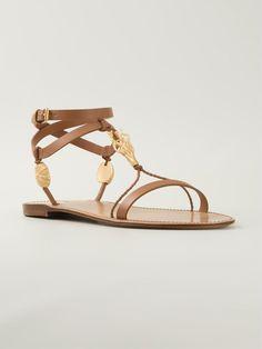 Brown leather golden branch sandals from Valentino Garavani