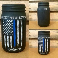 Personalized Police Officer Gift! Thin Blue Line Distressed Flag Jar, Customizable Police Officer mason jar, Law Enforcement Gift, Protecf Serve Honor with Matthew 5:9  This quart size jar is hand painted in matte black chalk paint. The distressed thin blue line flag is hand painted as well so slight differences from jar to jar should be expected. Above the flag are the words Protect, Serve, Honor. Below the flag is the Bible verse Matthew 5:9. The words are created in professional grade…
