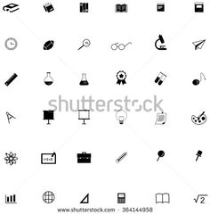 Silhouette flat education academic icon for many subject such as math science art chemistry physics sport and computer technology tool, create by vector