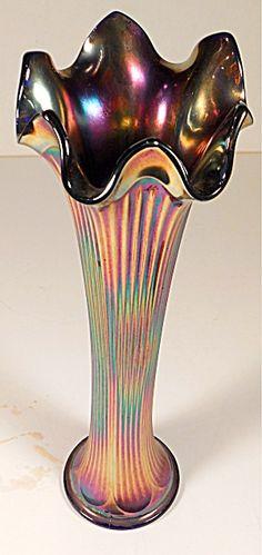 Fenton Fine Rib Swung Carnival Glass Vase