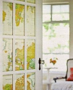 For the office :) I also like the idea of covering a bulletin board in old maps, just for the look :)