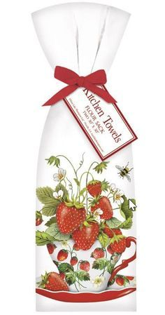 Strawberry Tea Cup Set of 2 Cotton Tea Towels - Tea Towels - Roses And Teacups Strawberry Kitchen, Strawberry Tea, Strawberry Fields, Strawberry Shortcake, Strawberry Decorations, Tea Tray, Tea Cup Set, Cupping Set, Shower Gifts
