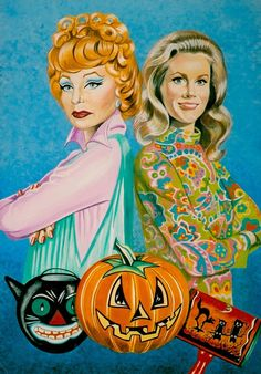 'BEWITCHED HALLOWEEN' Elizabeth Montgomery as Samantha & Agnes Moorehead as Endora (detail) original art by Robert Rechter (copyright) (please credit the artist when pinning to pinterest) hand-painted in gouache, pencil & Conté chalk on board. 2006. (minkshmink collection)