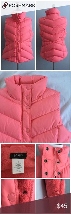 🆕 J. Crew puffer vest Keep warm and stylish in this puffer J. Crew vest! Beautiful coral color with double zipper and button closures. Has side pockets and inner adjustable straps for a more fitted look. Measurements: underarm to underarm 20 inches; shoulder to bottom hem 23 inches. In excellent, like new condition. J. Crew Jackets & Coats Vests