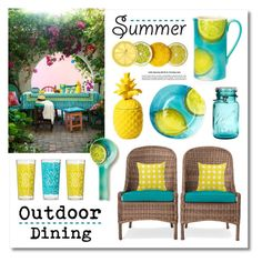 """""""Outdoor Dining"""" by lgb321 ❤ liked on Polyvore featuring interior, interiors, interior design, home, home decor, interior decorating, Threshold, Vietri and Mudhut"""