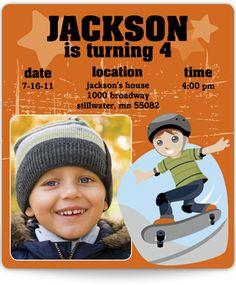 Little Skateboarder - Birthday Invitation Magnet