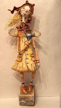 """Коллекционные куклы ручной работы. Ярмарка Мастеров - ручная работа. Купить Кукла """"Ангел в лётном шлеме"""",смешанная техника.. Handmade."""
