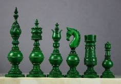 Open Head Bishop Green Camelbone Chess Pieces