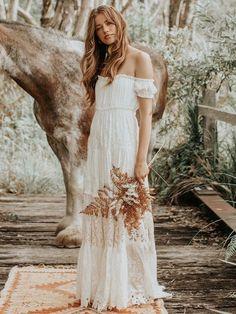 Gypsy Wedding, Boho Wedding Dress, Bridal Lace, Bridal Gowns, Wedding Gowns, Wedding Day, Bustier Top, Off Shoulder Gown, Bohemian Bride
