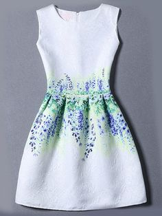 Multicolor Sleeveless Flower Print Jacquard Dress -SheIn(Sheinside) Mobile Site