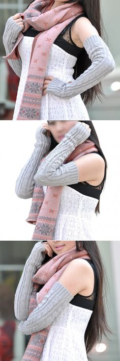 SAF 2016 NEW Fashion Lady Arm Warmers Pattern Knitting Wool Fingerless Gloves - Light gray $3.17