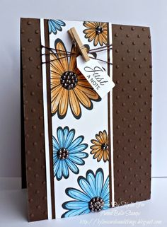 Love the mini clothespin on this retro just because card! Could use Mixed Bunch stamp set and Blossom punch, and Perfect Polka Dots EF