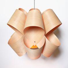 FREE SHIPPING - Handmade Wood Veneer Lamp, Pendent lamp, Wood Lampshade, Lighting Design, Patio Light, Hanging Light - Chandelier, Fixtures