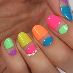 WEBSTA @ hannahroxit - NEW VIDEO! ✨LINK IN BIO✨to check out how to do these neon negative space nails!