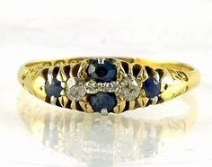 Antique Sapphire and Diamond Ring 18 ct Yellow Gold Size US UK Q by fkantique on Etsy Carat Gold, 18k Gold, Blue Sapphire, Sapphire Rings, Antique Rings, Natural Diamonds, Diamond Cuts, Gifts For Her, Victorian